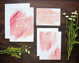 DEPOSIT ONLY // Watercolor Wedding Invitation Suite // Calligraphy // Hand-lettered // Custom Invite