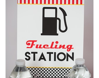 Fueling Station Sign - Instant Download Race Car Party Fueling Station Sign by Printable Studio