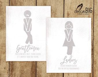 Funny Restroom Signs - Bathroom Mini Biff Decoration Wedding Party - Ladies and Gentlemen - DIY - Digital Files - 8x10