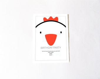 Customizable chicken birthday party invitation, chicken party, writable file .doc, children invitation DIY, digital file instant download