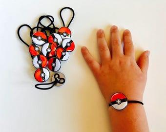 Pokémon, Pokemon Party,Set of 12 Party Favors, Pokémon Birthday, Pokéball, Pokémon Party Favors, Bracelet, Shoelace Button,