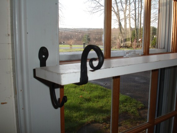 Shelf Brackets Black Iron Hold Curtain Rod Or Shelf Quilt Wall Hanging Hook  Holds A 1 1/4 Dowel. SOLD In Pairs (2) Heart Star Plain Ram