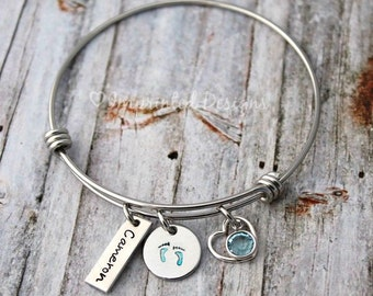 Wire Bangle Bracelet - Mother Bracelet - Personalized - Birthstone - New Mom - Grandmother - Pregnancy Announcement - It's A Boy