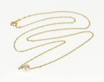 """14k 5.6mm Round Pearl Beaded Cable Link Necklace Gold 15.5"""""""