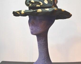 60s Summer Hat Polka Dot Silk Formal Hat Size S