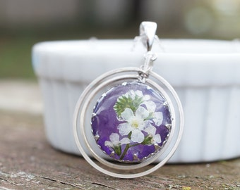 Real white 'forget me not' flower and purple Amythest dangle pendant - white gold plated silver necklace