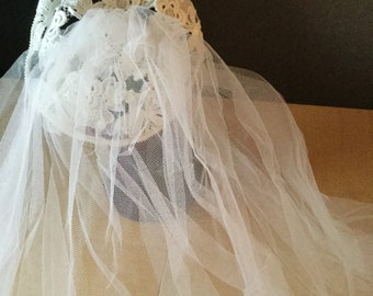 Beautiful lace crochet look skull cap and net veil white