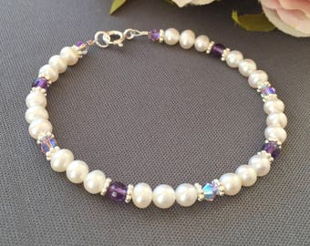 Pearl Amethyst - Bracelet 6mm Pearl - White Pearl Bangle - Purple Wedding - February Birthstone - Amethyst Jewelry - Violet Bracelet - Color