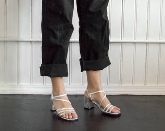 90s Silver Strappy Block Heels / Metallic Sandals / Tag Size 7