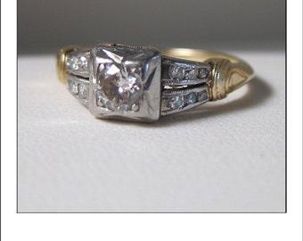 Antique Art Deco 14k Diamond Engagement Ring