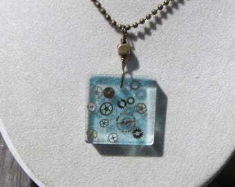 Watch Gears in Resin Square Pendant Necklace Handmade Resin Pendant Transparent Light Blue with Gears Steampunk Style Handmade Unique Resin