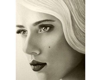 A Mark Of Beauty - Scarlet Johansson - ART PRINT - 8 x 10 - By Mixed Media Artist Malinda Prudhomme
