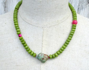 Olive Green Turquoise Hot Pink Random Beaded Necklace, Petite Asymmetrical Beads