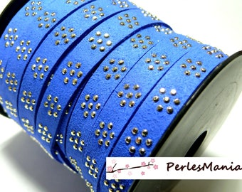 1 meter of electric Blue Suede PL104 look gold studded flower suede cord