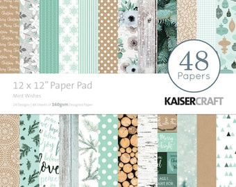 "KaiserCraft Mint Wishes Paper Pad, 12x12"", 48 Page Paper Pad, 2 ea of 24 designs, 160gsm single sided, for scrapbooking, papercrafting"