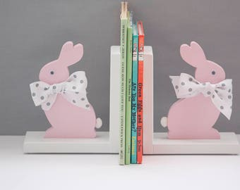 Bunny Bookends, Rabbit Book Ends, Pink Bunny, Childs Birth, nursery, baby shower,100% made in the USA, 8 anti skid discs attached.