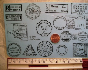 postal cancellations Tokyo,mecca, hong kong, Dundee   Rubber stamps foam mounted OR  un-mounted scrapbooking rubber stamping journal