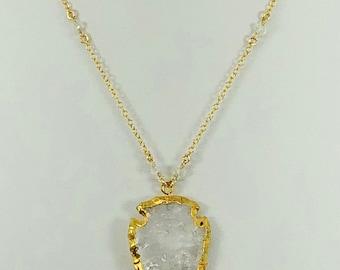 Clear Quartz Crystal Arrowhead Necklace  - Layering Necklace - Arrowhead Necklace - Bohemian Necklace - Boho Hippie Chic Necklace