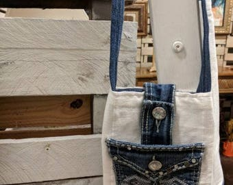 Crossover bag from repurposed materials
