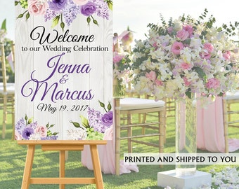 Welcome to Our Wedding Sign - Purple Floral Wood Bride & Groom Sign- Reception Sign Printed Wedding Ceremony Sign