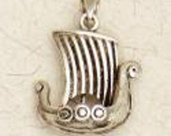 Norse Viking Ship-Medieval-Viking-Pewter-Pendant