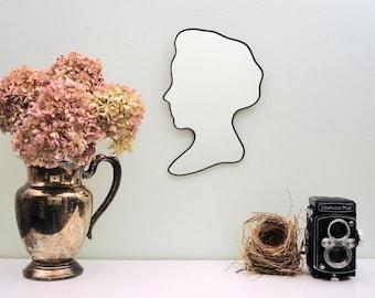 Cameo Bust Mirror / Handmade Wall Mirror Silhouette Outline Custom Female Profile