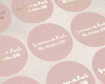 Foil Stickers, Foil Wedding Stickers, Blush Favour Stickers, Wedding Labels, Wedding Stickers, Personalised stickers, Blush Stickers, D8