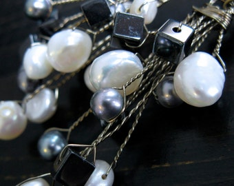 sale. STEVIE. Waterfall Collection. Off White. Hematite and Grey Freshwater Pear Earrings