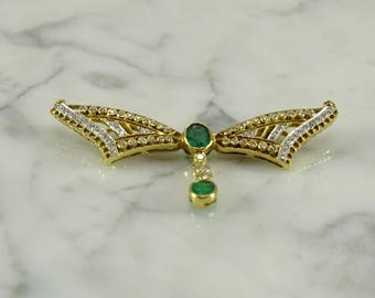 18K Yellow Gold / Emerald / Diamond Pin / Brooch