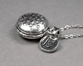 Hamburger Necklace, Cheeseburger Necklace, Silver Burger Necklace, initial necklace, personalized Necklace, Initial charm, monogram letter