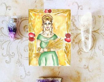 Goddess Art Goddess Demeter Prayer Card Mabon Pagan Art Harvest Mother Goddess Greek Spiritual Art Sacred Feminine Altar Mythological Art