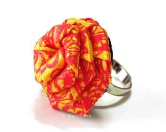 Satin Sunrise Yellow Rose Ring