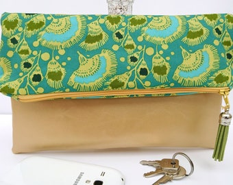 Faux leather foldover clutch, foldover handbag, gold clutch, girlfriend gift, gift for her, green gold gift
