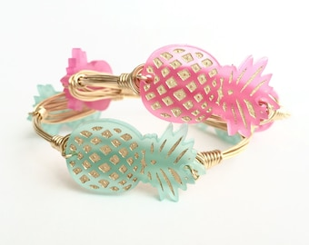 Pineapple Cutout Wire Bangle, Customizable, Bangle, Bracelet, Wire Bangle, Bourbon and Boweties Inspired