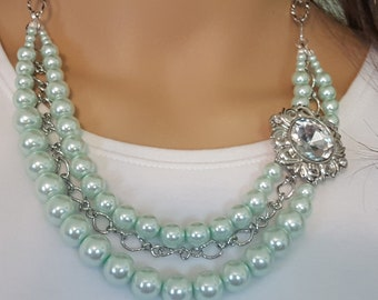 Light Mint Green Faux Pearls, Immitation Pearl Necklace, Bib Necklace, Beaded MultiStrand, Chunky Formal, Wedding Bridal Prom, Affordable