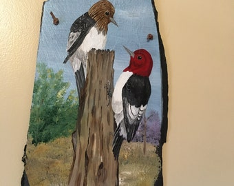 Hand Painted Slate Plaque with Woodpecker Birds