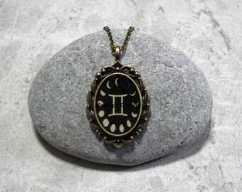 Moon Phases Gemini Necklace Pendant Antique Bronze