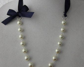 Ivory Pearl and Navy Blue Ribbon Bow Necklace
