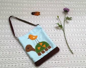Tote bag, toddler, baby bag, upcycled, turtle, OOAK