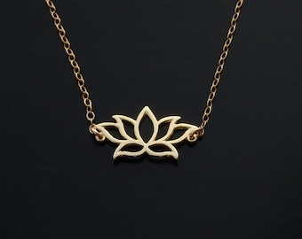 Lotus Necklace in Gold or Sterling Silver