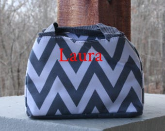 Girls Monogrammed Lunch Bag Grey Chevron Insulated Cooler Tote