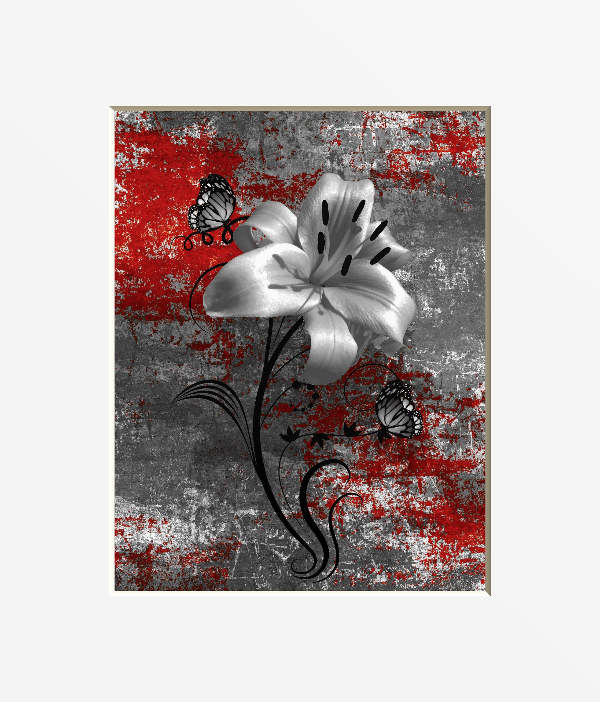 Fleur Pour Salle De Bain ~ photographie dart mur gris rouge fleur de lys papillon