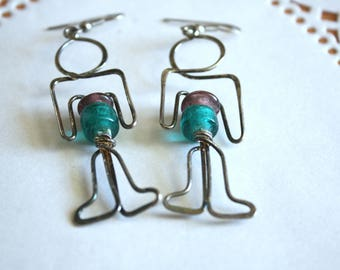 Vintage Wire People Earrings | Unique Statement Jewelry | Collectible Gift Idea |