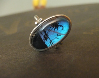 palm tree swaying by the sea silver adjustable  ring