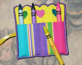 IN The Hoop Scalloped Crayon Roll For 4x4 Hoop Embroidery Machine Design