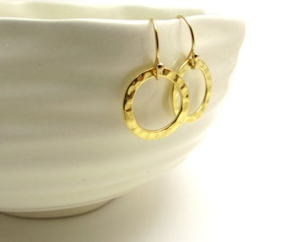 Hammered gold circle earrings, small circle earrings, hammered gold earring, small gold earrings, gold minimalist jewelry, delicate jewelry