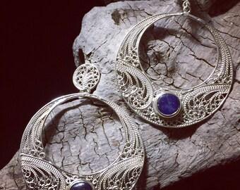 Silver Filigree Earrings with Lapislázuli