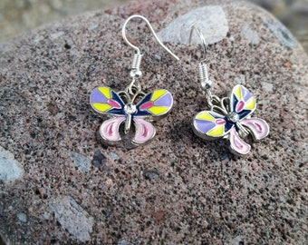 Yellow, Purple and Pink Butterfly Charm Earrings - perfect accessory for Spring and Summer - Enamel Charm Earrings - Girls Jewelry Dress Up