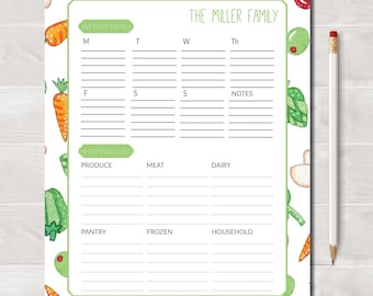 Personalized Menu Planner and Shopping List, Eat Your Veggies