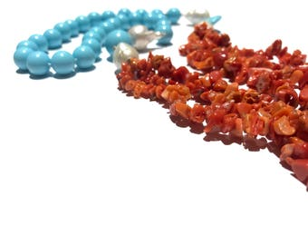 Turquoise and coral necklace, coral necklace, baroque pearl necklace and three coral strands